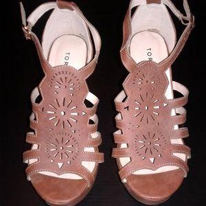 Torrid brown cutout platform heels